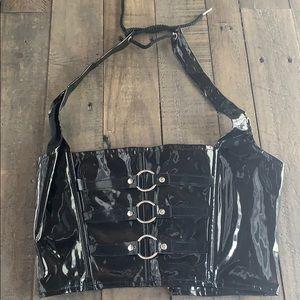 Elegant Moments vinyl Black halter corset 🖤